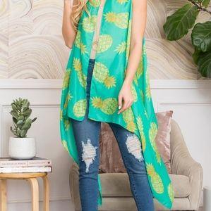 Pineapple printed open front kimono